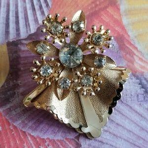 Vintage rhinestone leaf brooch gold tone pin